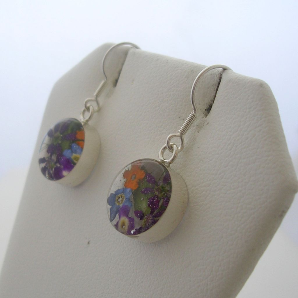 Sterling Silver and Still Life Dangling Earrings