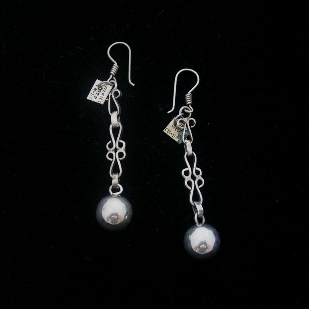 Vintage Taxco Silver Earrings with Spheres