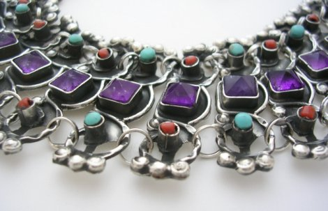 MATL-Matilde Style Silver Necklace Stones
