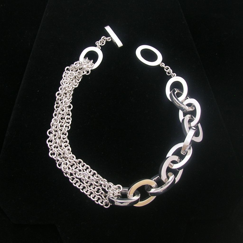 Contemporary Chain Links Silver Necklace