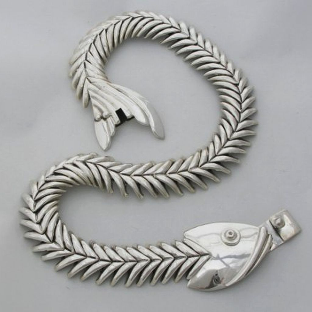 Silver Fish Necklace Old Taxco Reproduction