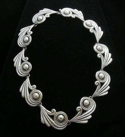 Margot de Taxco Molds Silver Swirls Necklace