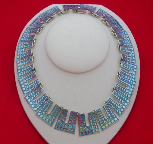 Margot de Taxco Molds Silver Enamel Necklace