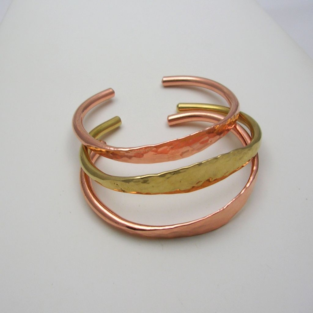 Mexican Hammered Copper Bangle Cuff