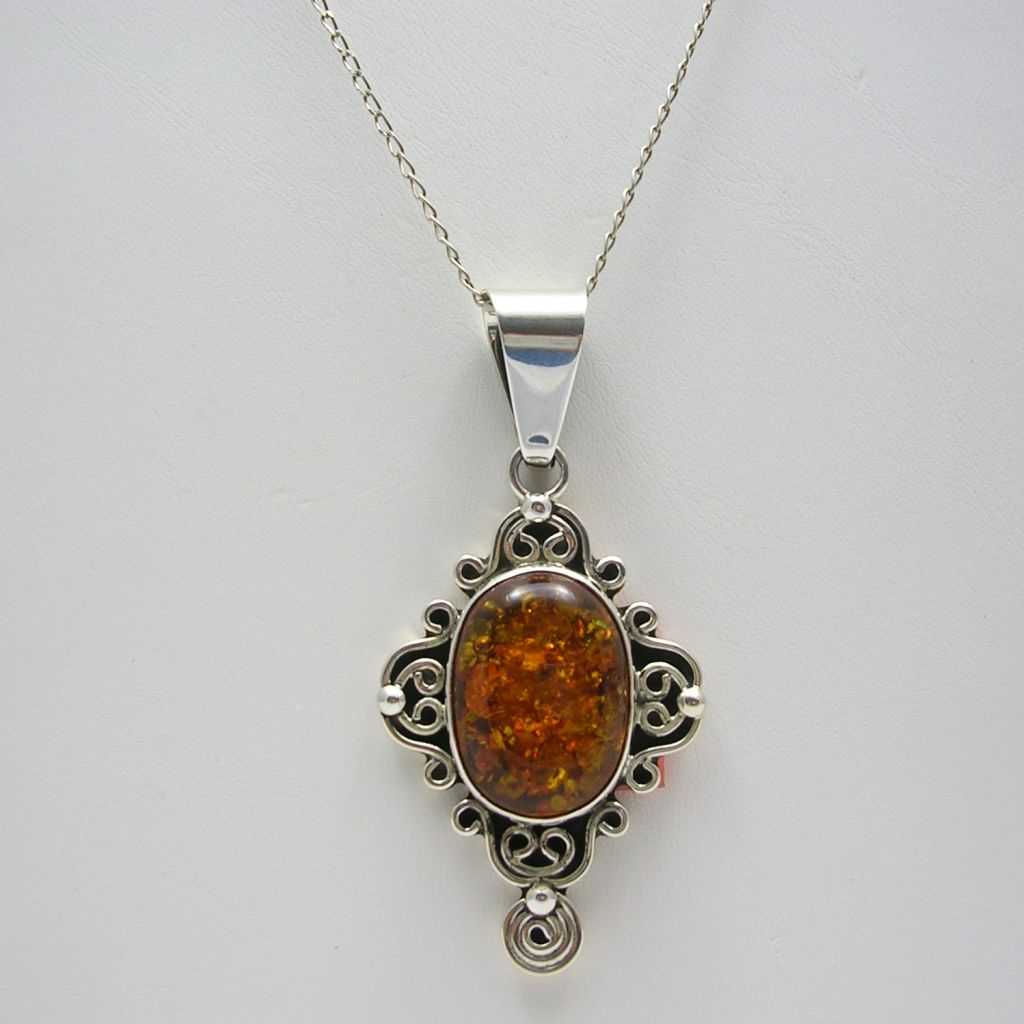 Sterling Silver and Amber Pendant