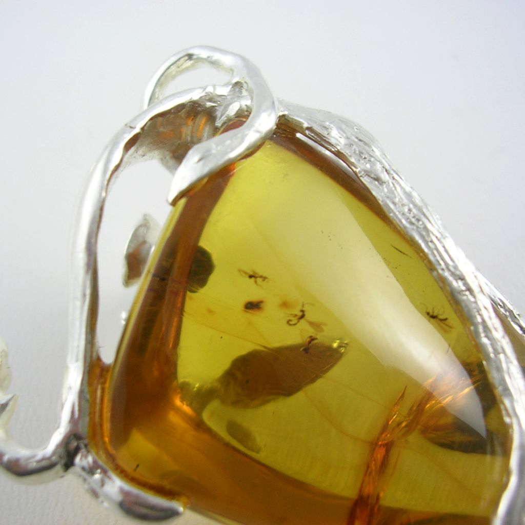 Silver and Simojovel Amber Pendant
