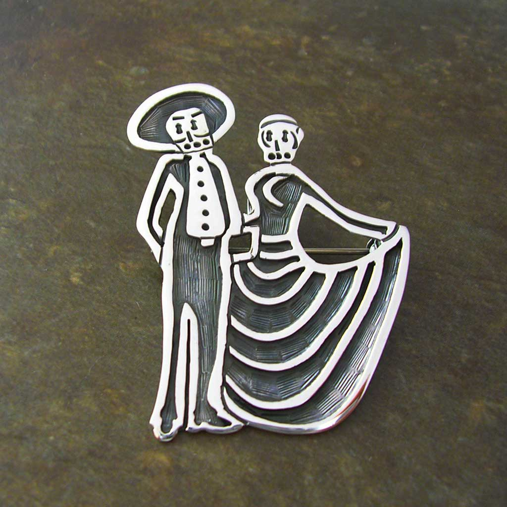 Dancing Couple Taxco Silver Pendant-Brooch