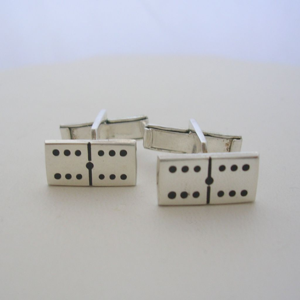 Mexican Domino Chips Sterling Silver Cufflinks