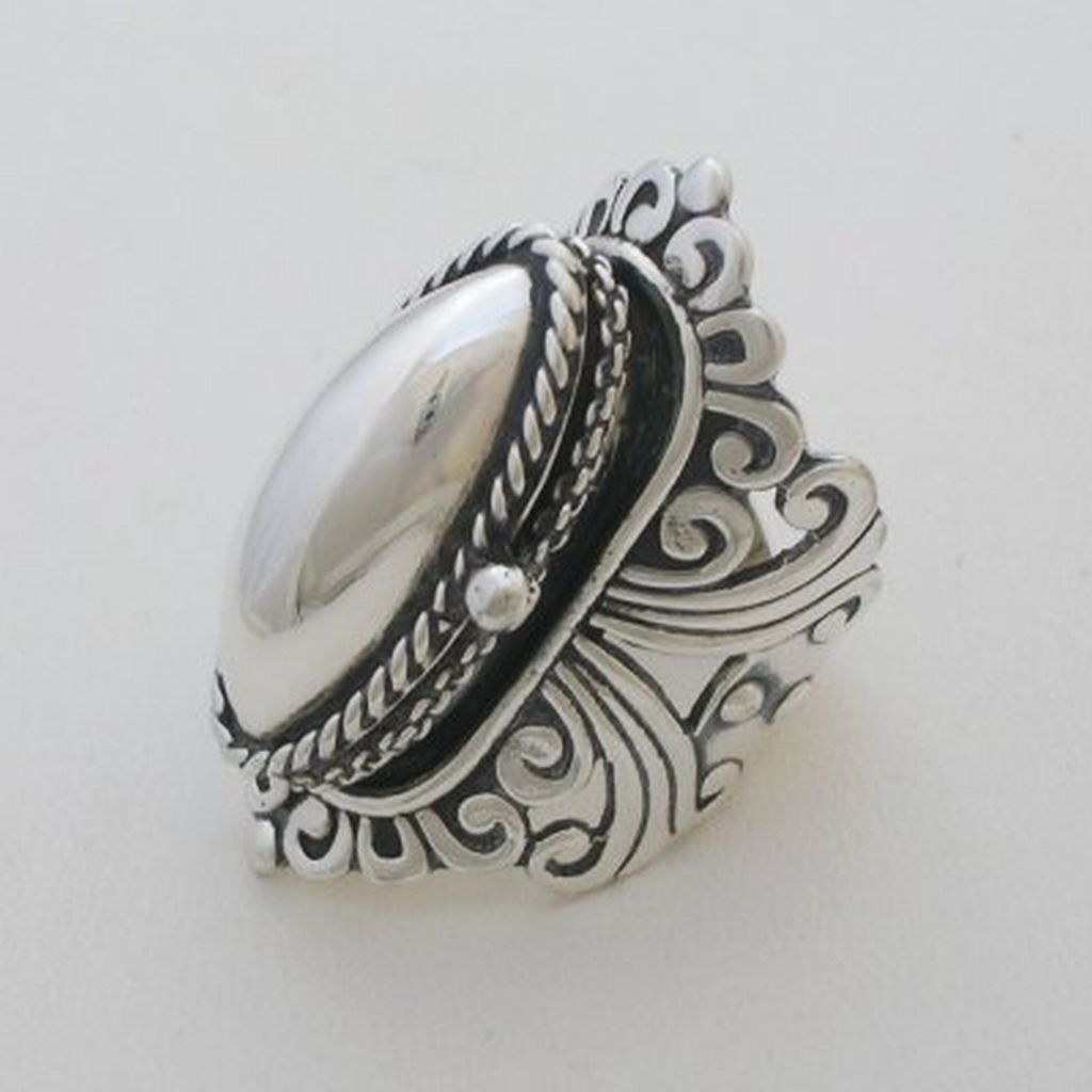 Handmade Adjustable Taxco Silver Poison Ring