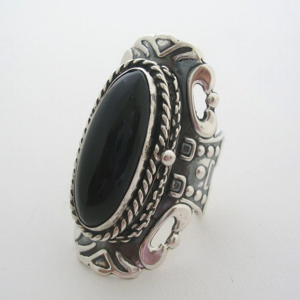 Handmade Sterling Silver Onyx Poison Ring