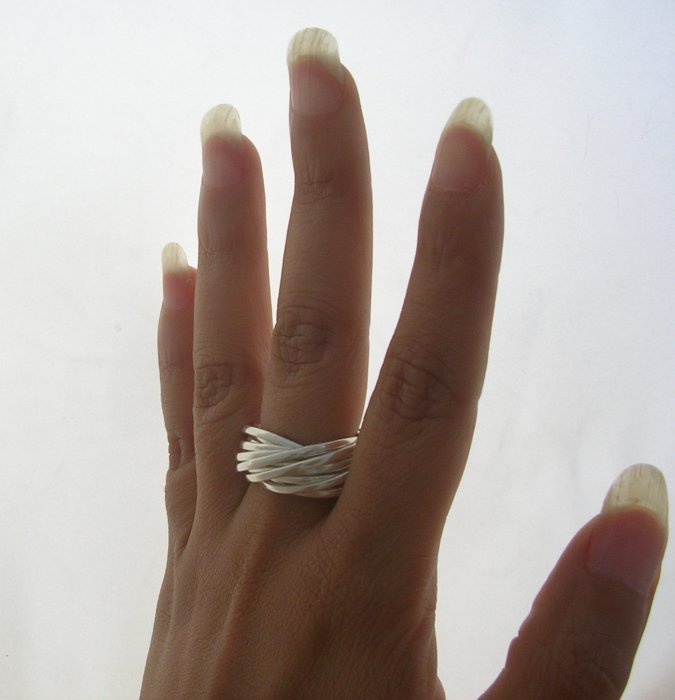Contemporary Taxco Sterling Silver Multiple hoops Ring