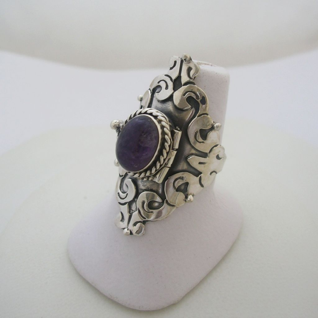 Adjustable Mexican Silver Poison Ring