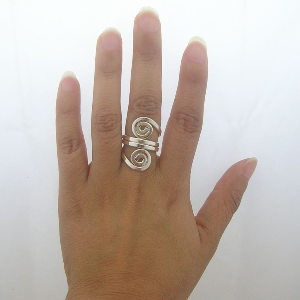 Ethnic Sterling Silver Ring with Swirls