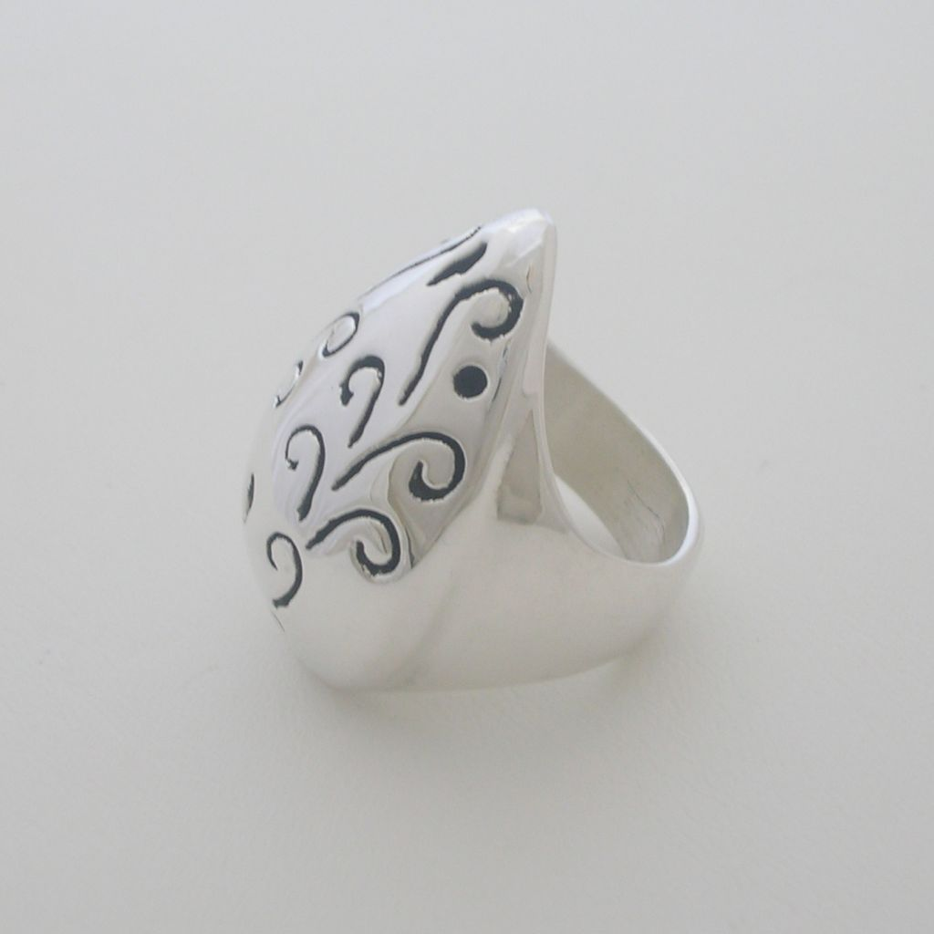 Carved Vines Taxco Sterling Silver Ring