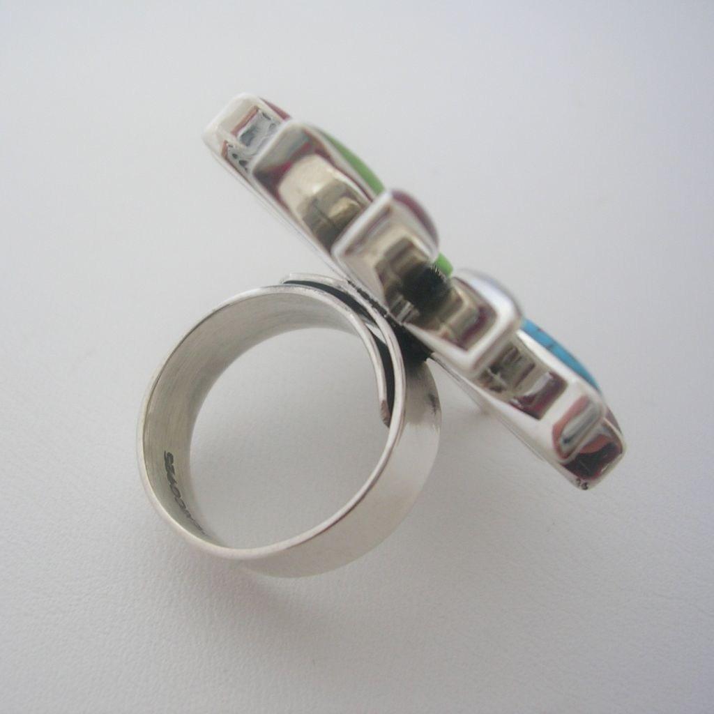 Adjustable Silver Ring with Faux Gemstones
