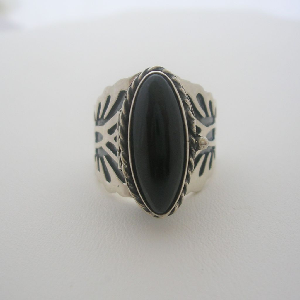 Unisex Sterling Silver Poison Ring, Hopi Style