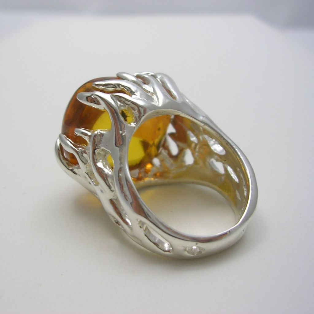 Contemporary Taxco Silver and Amber Ring
