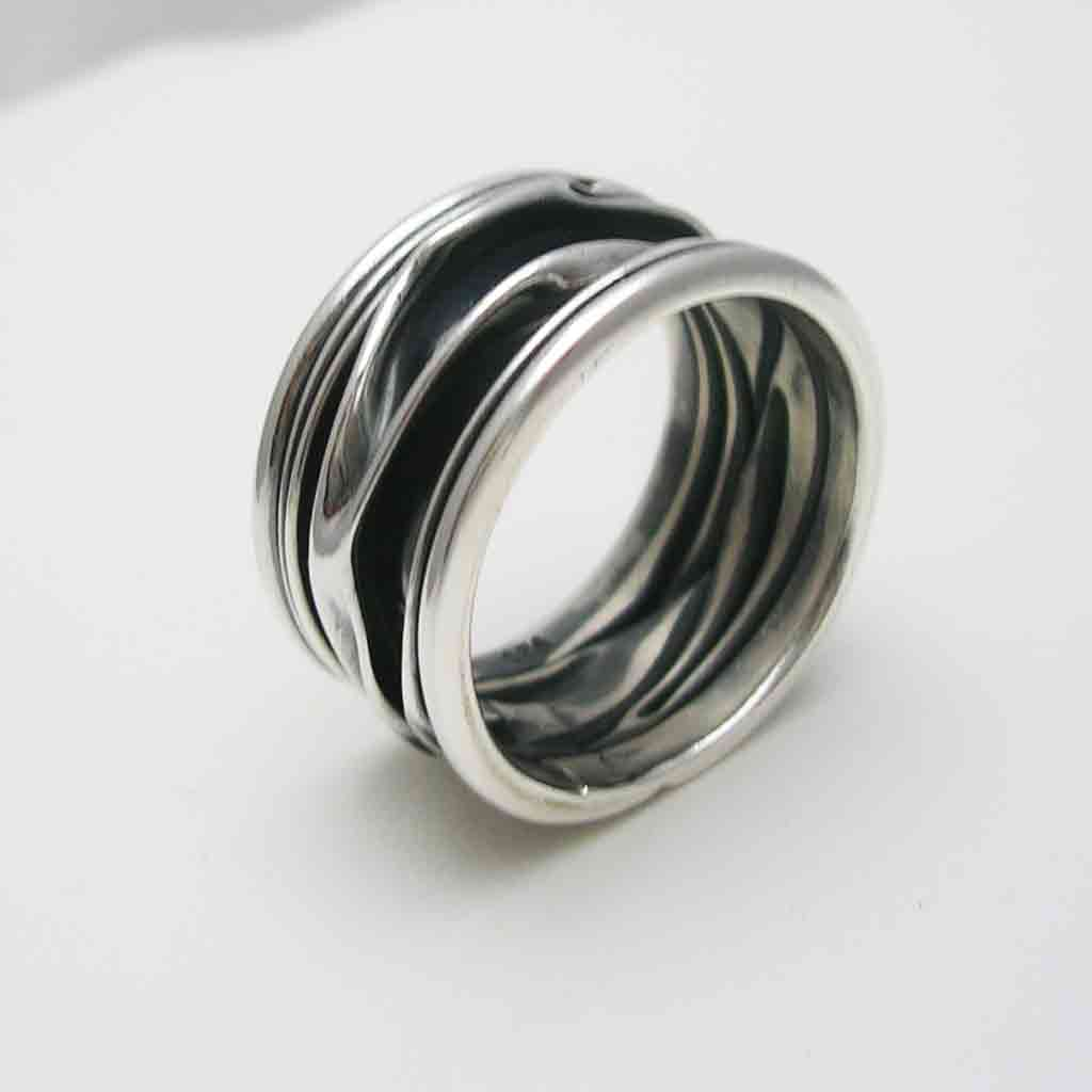 Contemporary Oxidized Sterling Silver Ring